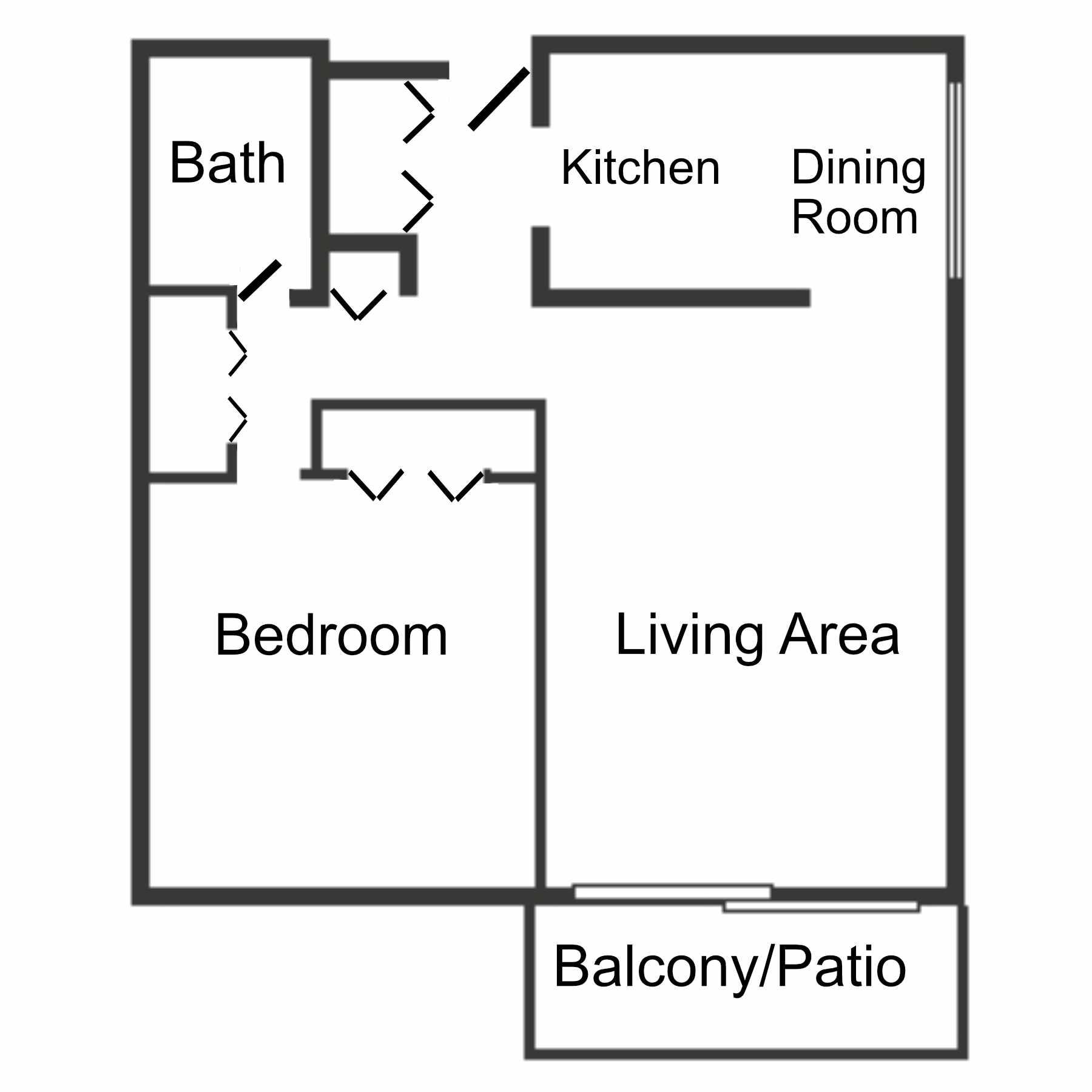 Floor plan of 1 bedroom, 1 bathroom apartment