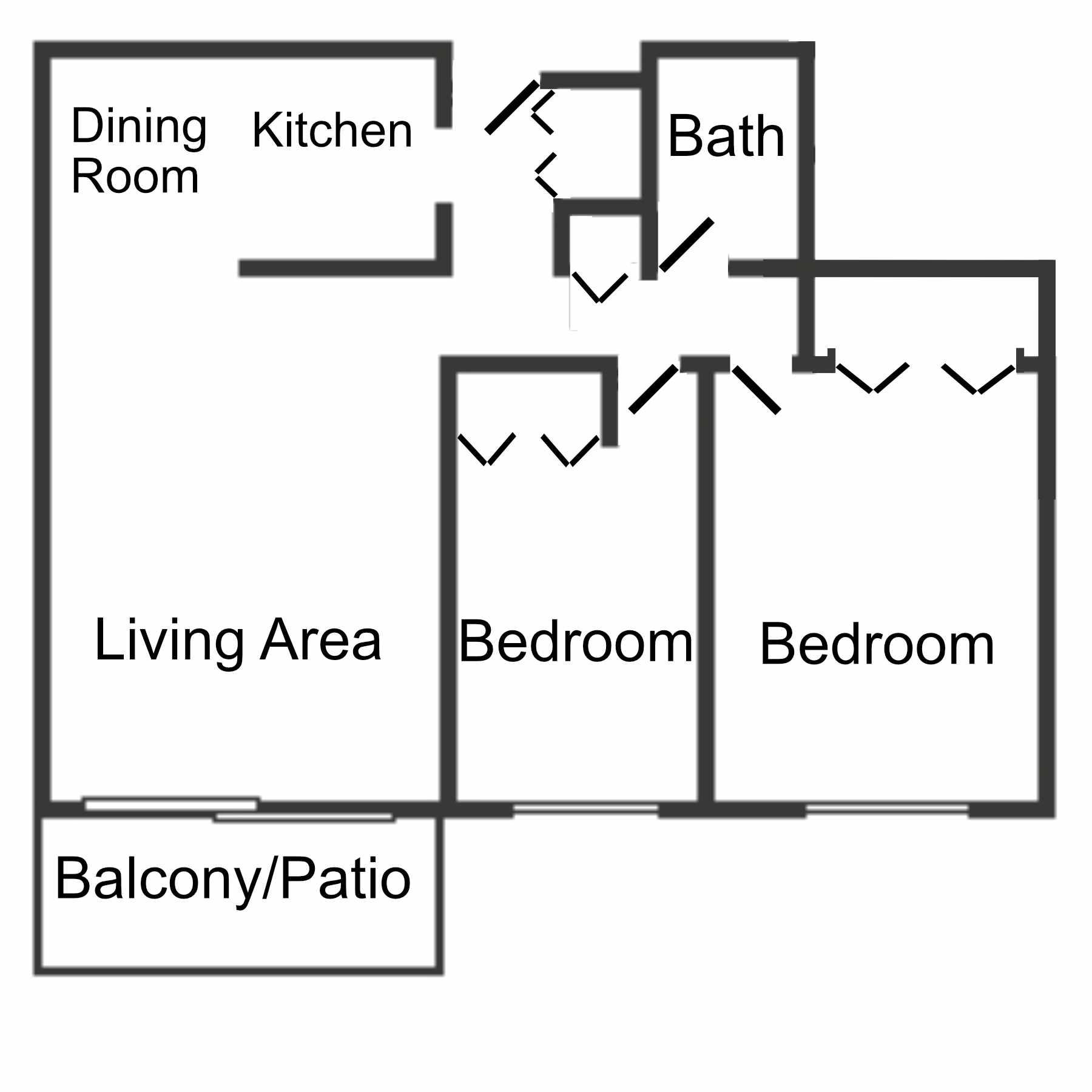 Floor plan of the 2 bedroom, 1 Bathroom apartment